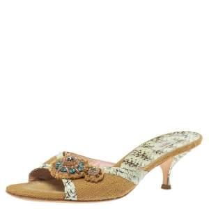 Prada Brown Jute Canvas And Blue Snakeskin Crystal Embellished Slide Sandals Size 39