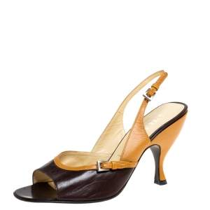 Prada Two Tone Leather Buckle Detail Open Toe Slingback Sandals Size 38.5
