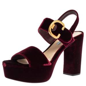 Prada Burgundy Velvet Platform Slingback Sandals Size 39