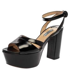 Prada Black Patent Leather Ankle Strap Block Heel Platform Sandals Size 39.5