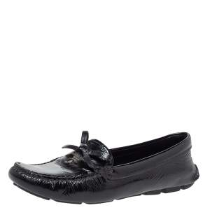 Prada Black Patent Leather Bow Slip On Loafers Size 37.5