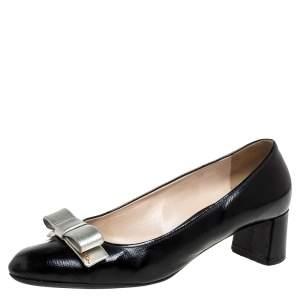 Prada Black Patent Leather Block Heel Pumps Size 40