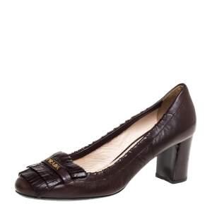 Prada Brown Leather Fringe Loafer Pumps Size 37