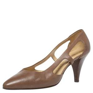 Prada Brown Leather Pointed Toe Pumps Size 36
