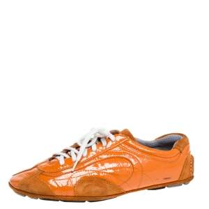 Prada Orange Suede And Patent Leather Vintage Low Top Sneakers Size 38.5