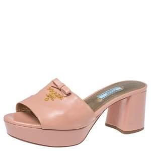 Prada Beige Patent Leather Bow Open Toe Platform Sandals Size 38