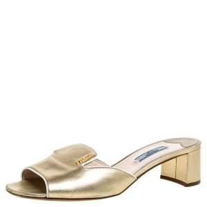 Prada Gold Leather Open Toe Slip On Sandals Size 37.5