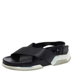 Prada Black Leather Crossover Flats Size 37.5
