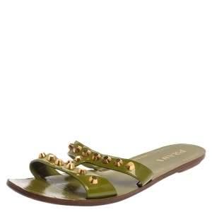 Prada Green Patent Leather Studded Flat Slides Size 40.5