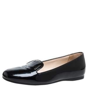 Prada Black Patent Leather Slip On Loafers Size 36.5