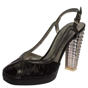 Prada Black Satin And Leather Pleated Peep Toe Slingback Sandals Size 41