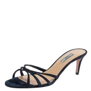 Prada Blue Suede Knotted Front Slide Sandals Size 40