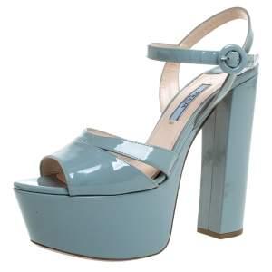 Prada Grey Patent Leather Platform Ankle Strap Sandals Size 37