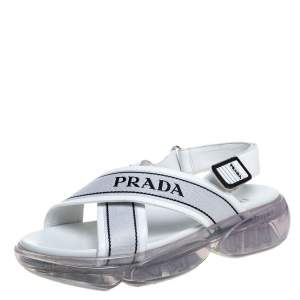 Prada White Leather And Canvas Cloudbust Logo Slingback Sandals Size 38