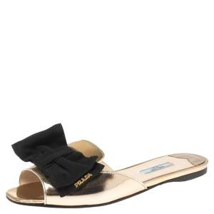 Prada Metallic Gold/Black Patent Leather and Fabric Bow Embellished Flat Slides Size 39.5