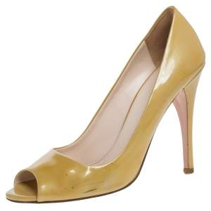 Prada Yellow Patent Leather Peep Toe Pumps Size 38