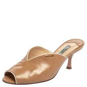 Prada Beige Patent Leather Open Toe Slip On Sandals Size 37