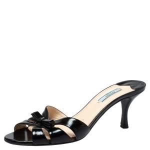 Prada Black Patent Leather Bow Slide Sandals Size 39