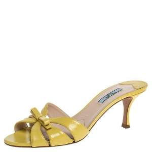 Prada Yellow Patent Leather Bow Slide Sandals Size 38.5