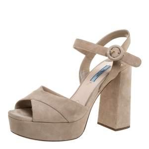 Prada Beige Suede Ankle Strap Platform Sandals Size 39