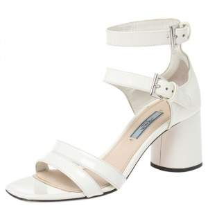 Prada White Patent Leather Ankle Strap Sandals Size 36