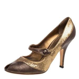 Prada Gold/Brown Sequin and Leather Peep Toe Pumps Size 41