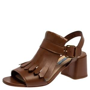 Prada Brown Leather Fringe Slingback Block Heel Sandals Size 37