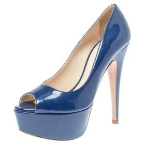 Prada Blue Patent Leather Peep Toe Pumps Size 36.5