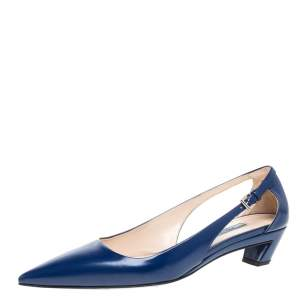 Prada Blue Leather Kitten Heel Pointed Toe Pumps Size 40