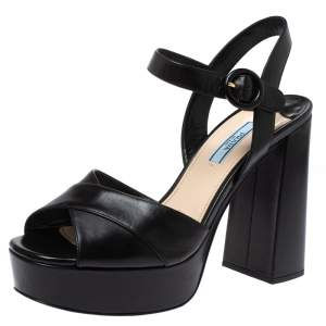Prada Black Leather Block Heel Ankle Strap Platform Sandals Size 39