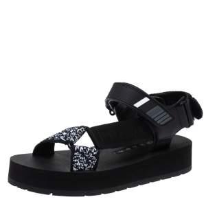 Prada Black Canvas, Rubber and Leather Trim Jacquard Logo Platform Sandals Size 35