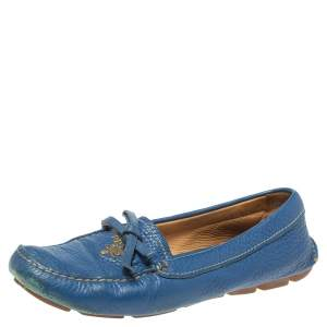 Prada Blue Leather Bow Slip On Loafers Size 35