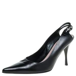 Prada Black Leather Pointed Toe Slingback Pumps Size 39
