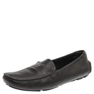 Prada Black Leather Slip On Loafers Size 39.5
