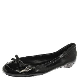Prada Black Patent Leather Bow Ballet Flats Size 36.5