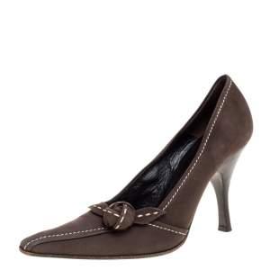 Prada Khaki Brown Stitch Nubuck Leather Knot Pointed Toe Pumps Size 36