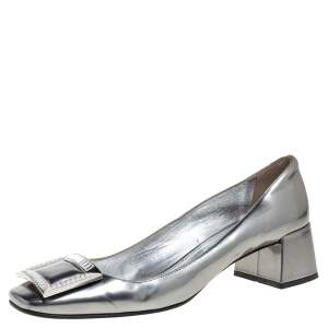 Prada Silver Glossy Leather Crystal Buckle Block Heel Pumps Size 39