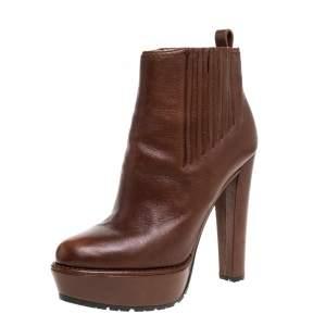 Prada Brown Leather Platofrm Heel Boots Size 39