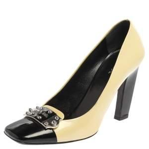 Prada Yellow/Black Patent Leather Logo Silver Plaque Square Toe Pumps Size 39.5