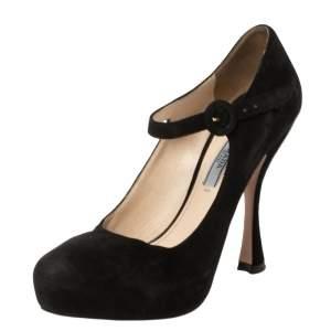 Prada Black Suede Mary Jane Ankle Strap Pumps Size 37