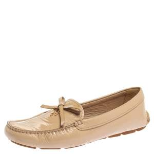 Prada Beige Patent Leather Bow Loafers Size 39