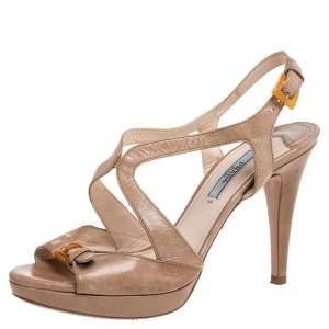 Prada Beige Leather Strappy Platform Sandals Size 38