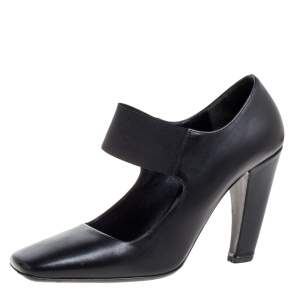 Prada Black Leather Mary Jane  Square Toe Pumps Size 38