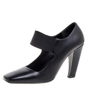 Prada Black Leather Mary Jane  Square Toe Pumps Size 38