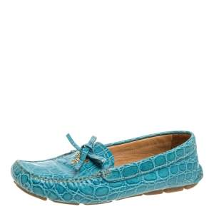 Prada Blue Crocodile Leather Bow Slip On Loafers Size 39