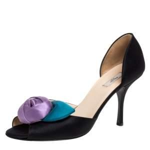 Prada Black Satin Floral D'orsay Peep Toe Pumps Size 38