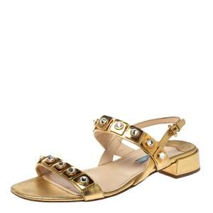 Prada Gold Leather Jeweled Embellished Double Strap Sandals Size 39
