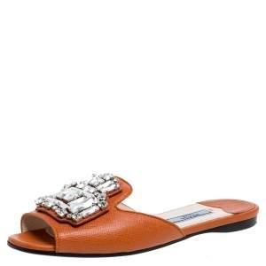Prada Orange Leather Crystal Embellished Flat Slide Size 35