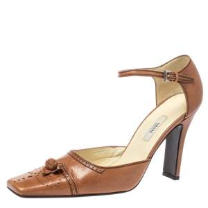 Prada Brown Leather Ankle Strap Square Toe Pumps Size 37.5