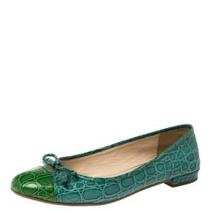 Prada Green Croc Embossed Leather Bow Ballet Flats Size 36.5